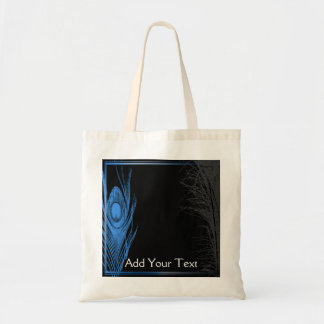 Blue and Black Peacock Budget Tote Bag