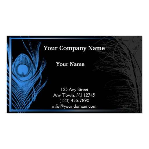 Blue and Black Peacock Business Card