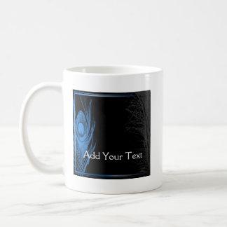 Blue and Black Peacock Coffee Mug