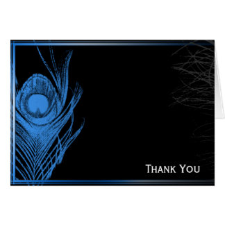 Blue and Black Peacock Note Card