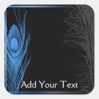 Blue and Black Peacock Square Sticker