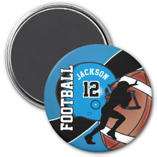 Blue and Black Personalize Football Magnet