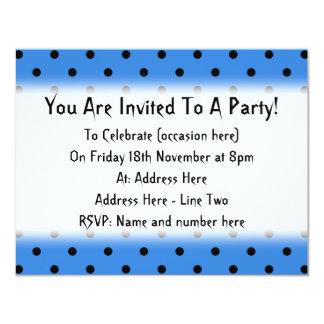 Blue and Black Polka Dot Pattern. 11 Cm X 14 Cm Invitation Card