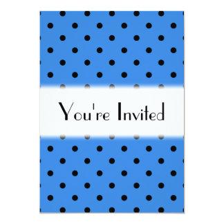 Blue and Black Polka Dot Pattern. 13 Cm X 18 Cm Invitation Card