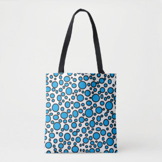 Blue and Black Polka Dots Tote Bag
