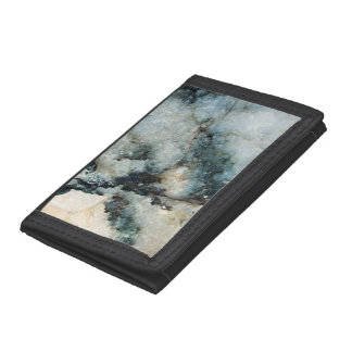 Blue and Black Quartz Mineral Texture Tri-fold Wallets