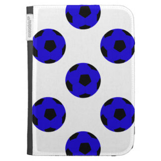 Blue and Black Soccer Ball Pattern Case For Kindle