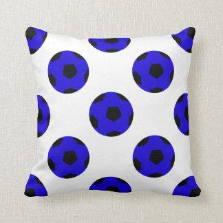 Blue and Black Soccer Ball Pattern Cushion
