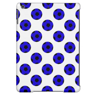 Blue and Black Soccer Ball Pattern iPad Air Cover