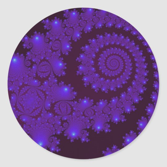 Blue and Black Spiral Fractal Classic Round Sticker