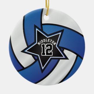Blue and Black Star Volleyball Christmas Ornament