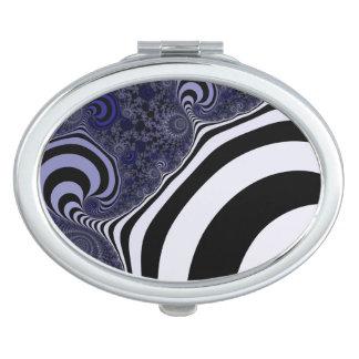 Blue and black striped  fractal.fractal. travel mirror