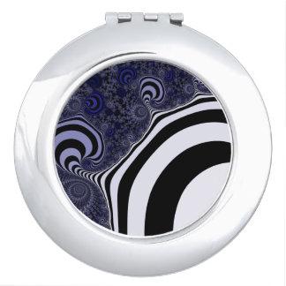 Blue and black striped  fractal. makeup mirror
