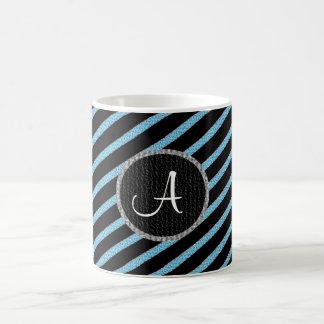 Blue and black stripes monogram mug