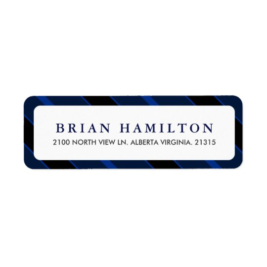 Blue and Black Stripes | Return Address Return Address Label