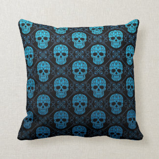 Blue and Black Sugar Skull Pattern Cushion