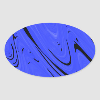 Blue and Black Wave Abstract Design Oval Sticker