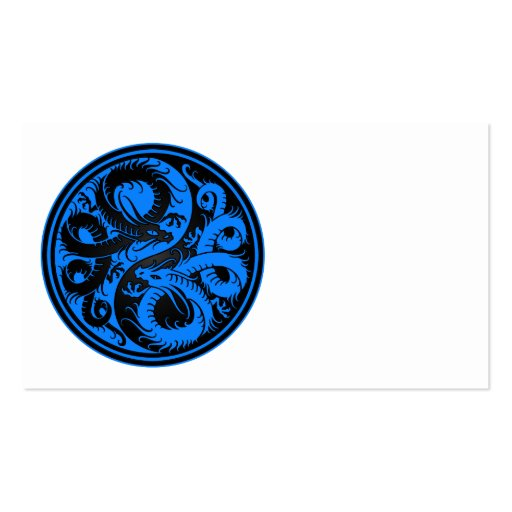 Blue and Black Yin Yang Chinese Dragons Business Card Template