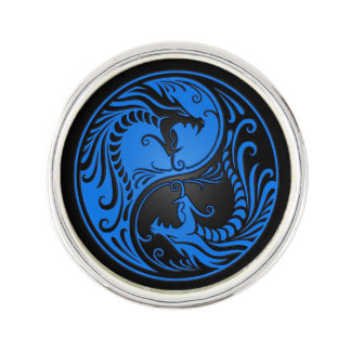 Blue and Black Yin Yang Dragons Lapel Pin