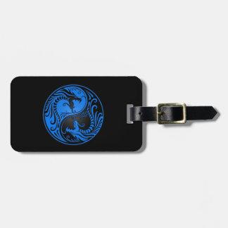 Blue and Black Yin Yang Dragons Luggage Tag