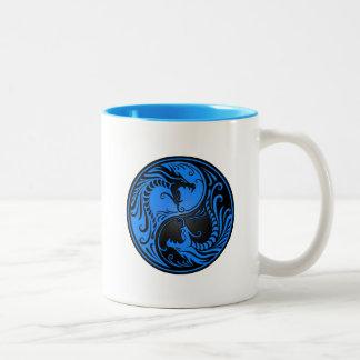 Blue and Black Yin Yang Dragons Coffee Mugs