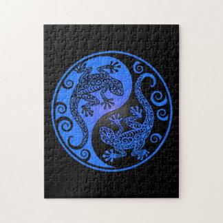 Blue and Black Yin Yang Geckos Jigsaw Puzzle