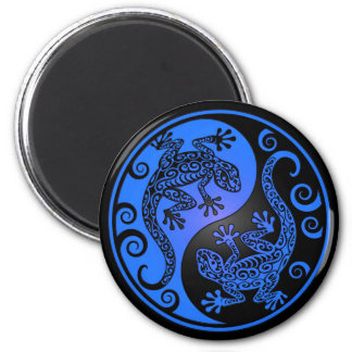 Blue and Black Yin Yang Geckos Magnet