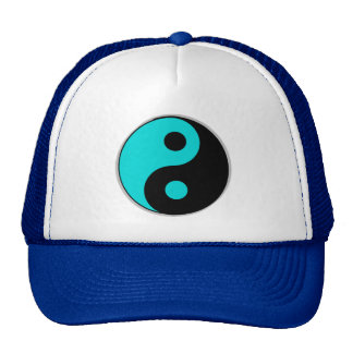 blue and black yin yang hat