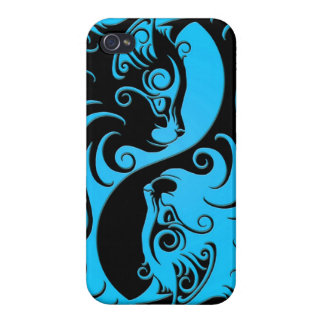 Blue and Black Yin Yang Kittens iPhone 4 Covers