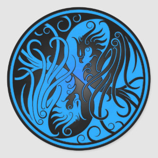 Blue and Black Yin Yang Phoenix Classic Round Sticker