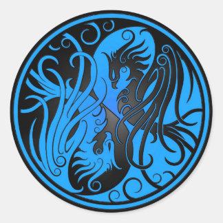 Blue and Black Yin Yang Phoenix Round Sticker