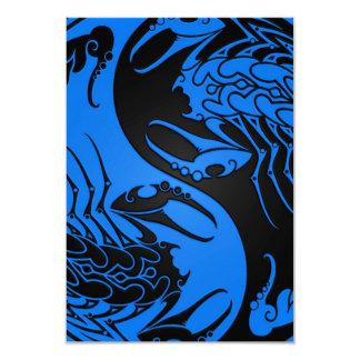 Blue and Black Yin Yang Scorpions 9 Cm X 13 Cm Invitation Card