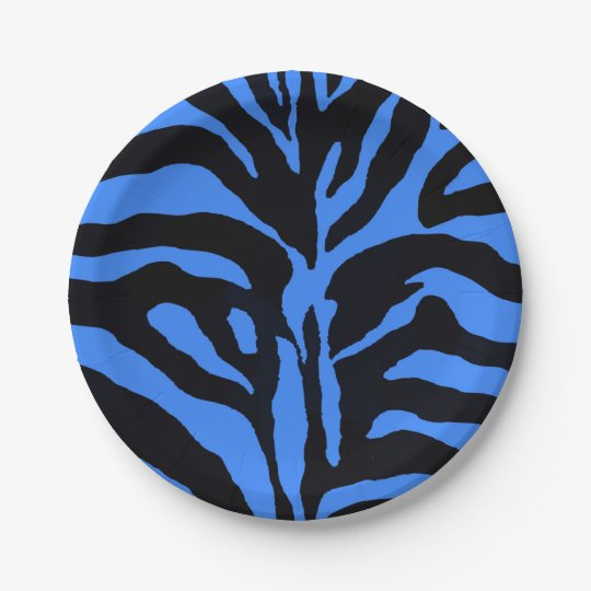 Blue and black zebra background modern paper plate