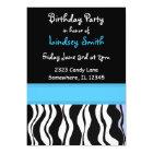 Blue and Black Zebra Print Birthday Invitation