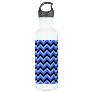 Blue and Black Zig zag Stripes. 710 Ml Water Bottle
