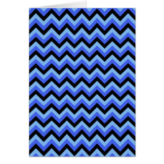 Blue and Black Zig zag Stripes Cards