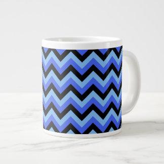 Blue and Black Zig zag Stripes. Large Coffee Mug
