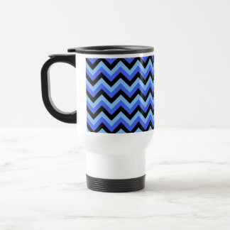 Blue and Black Zig zag Stripes. Travel Mug