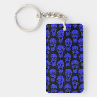 Blue and Black Zombie Apocalypse Pattern Single-Sided Rectangular Acrylic Key Ring