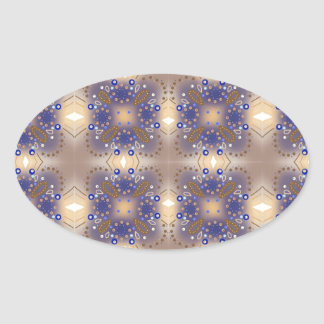 Blue and bronze oval sticker