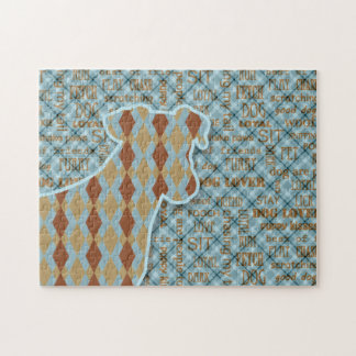 Blue and Brown Argyle Patterned Dog Jigsaw Puzzle