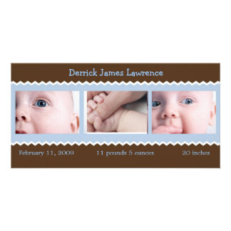Blue and Brown baby announcement Photo Cards