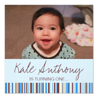 "Blue and Brown Baby Boy 1st Birthday Invitation 5.25"" Square Invitation Card"