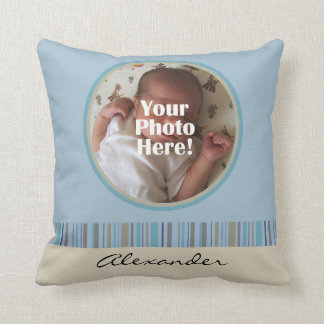 Blue and Brown Baby Boy Custom Photo/Name Pillow