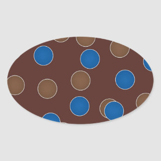 Blue and Brown Balls Oval Stickers