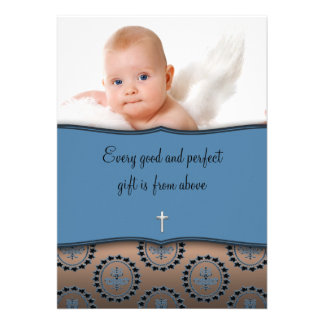 Blue and Brown Boy Photo Christening Invitations
