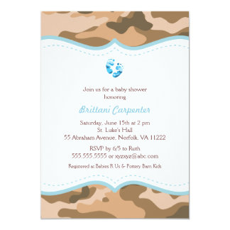 Blue and Brown Camo Baby Shower Invites with feet