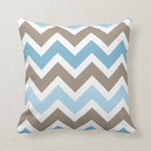 Blue and Brown Chevron Zigzag Pattern Throw Pillow