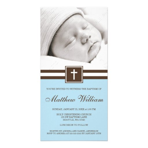 Blue and Brown Cross Baptism Photo Card