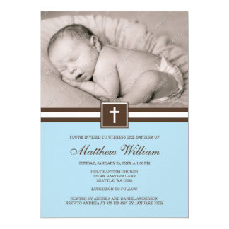 Blue and Brown Cross Boy Photo Baptism 13 Cm X 18 Cm Invitation Card